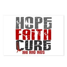 HOPE FAITH CURE AIDS / HIV Postcards (Package of 8