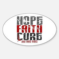 HOPE FAITH CURE AIDS / HIV Oval Sticker (10 pk)