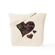 Brown Camo Hearts Tote Bag