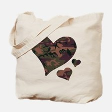 Brown Camo Hearts Tote Bag