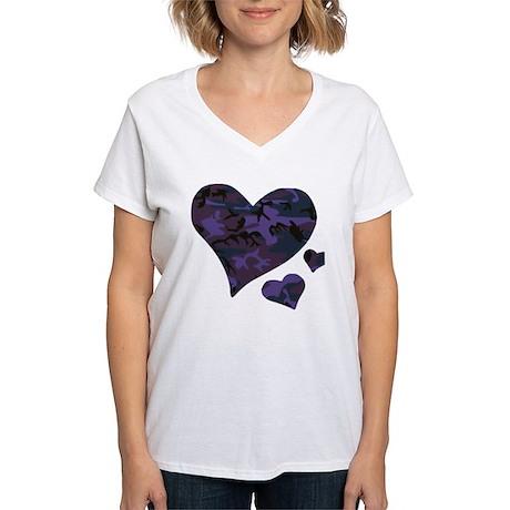 Purple Camo Hearts Women's V-Neck T-Shirt