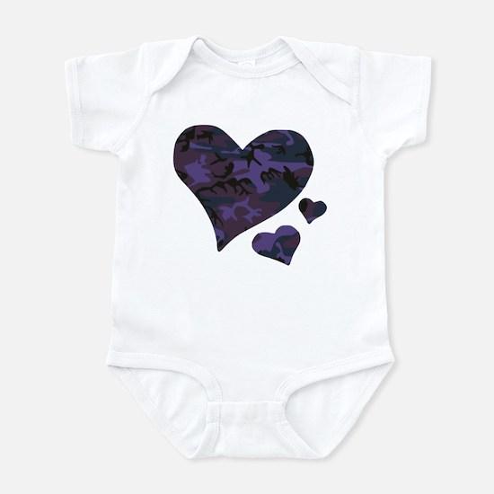 Purple Camo Hearts Infant Bodysuit