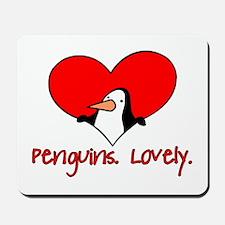 Penguins Lovely Heart Mousepad