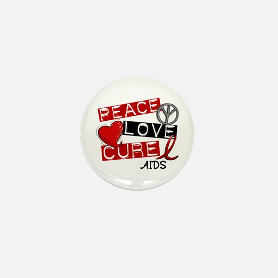 PEACE LOVE CURE AIDS (L1) Mini Button