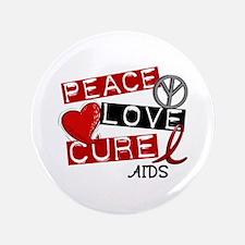 """PEACE LOVE CURE AIDS (L1) 3.5"""" Button"""