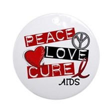PEACE LOVE CURE AIDS (L1) Ornament (Round)