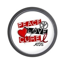 PEACE LOVE CURE AIDS (L1) Wall Clock
