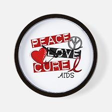 PEACE LOVE CURE AIDS (L1) Wall Clock