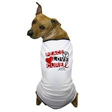 PEACE LOVE CURE AIDS (L1) Dog T-Shirt