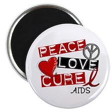 PEACE LOVE CURE AIDS (L1) Magnet