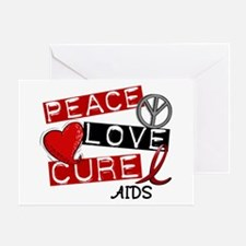 PEACE LOVE CURE AIDS (L1) Greeting Card