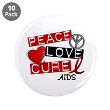 "PEACE LOVE CURE AIDS (L1) 3.5"" Button (10 pack)"