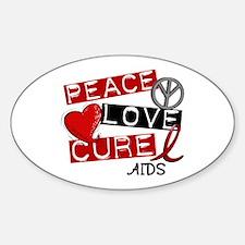 PEACE LOVE CURE AIDS (L1) Oval Sticker (10 pk)