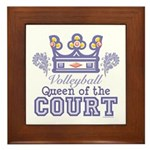 Queen Of The Court Volleyball Framed Tile