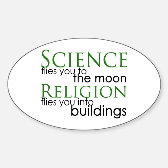 Science and Religion Oval Decal
