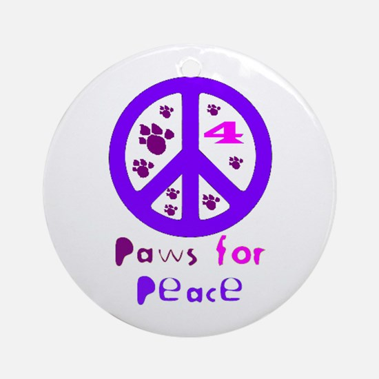 Paws for Peace Purple Ornament (Round)