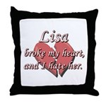 Lisa broke my heart and I hate her Throw Pillow