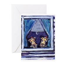 IRISH TERRIER xmas Santa Hat Greeting Cards (Packa