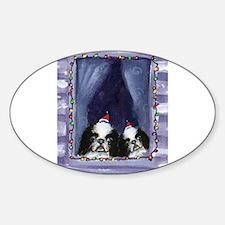 JAPANESE CHIN Christmas light Oval Decal
