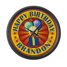Happy Birthday Brandon Large Wall Clock