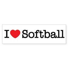 I love Softball Bumper Sticker