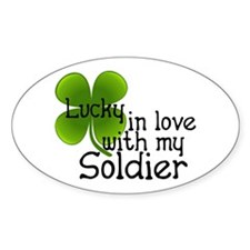 Lucky In Love With My Soldier Oval Decal