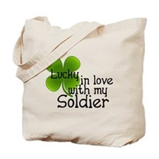Lucky In Love With My Soldier Tote Bag