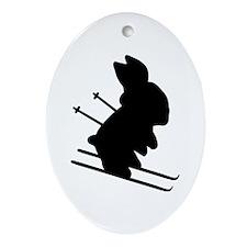 Ski Bunny Oval Ornament