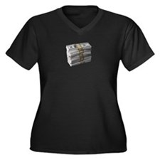 My Stack of Money Women's Plus Size V-Neck Dark T-