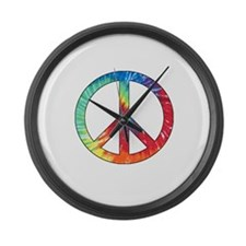 Tie Dye Rainbow Peace Sign Large Wall Clock