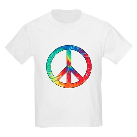 Tie Dye Rainbow Peace Sign Kids Light T-Shirt