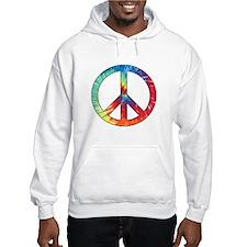 Tie Dye Rainbow Peace Sign Hoodie