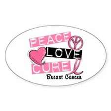 PEACE LOVE CURE Breast Cancer (L1) Oval Decal