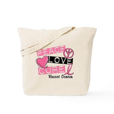 PEACE LOVE CURE Breast Cancer (L1) Tote Bag