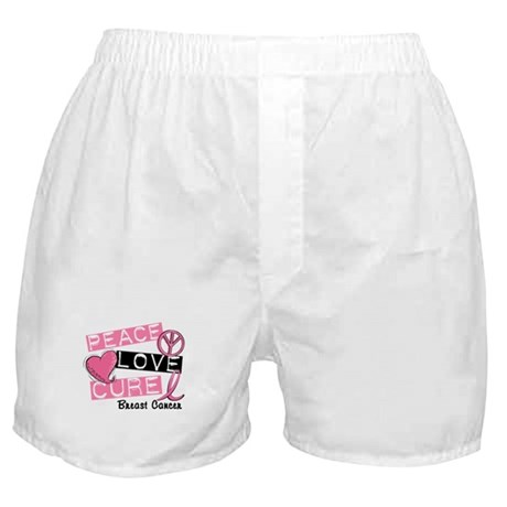 PEACE LOVE CURE Breast Cancer (L1) Boxer Shorts
