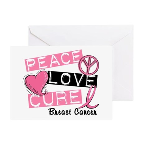 PEACE LOVE CURE Breast Cancer (L1) Greeting Cards
