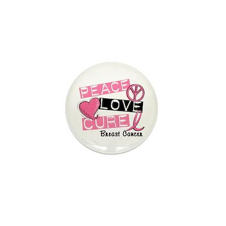 PEACE LOVE CURE Breast Cancer (L1) Mini Button (10