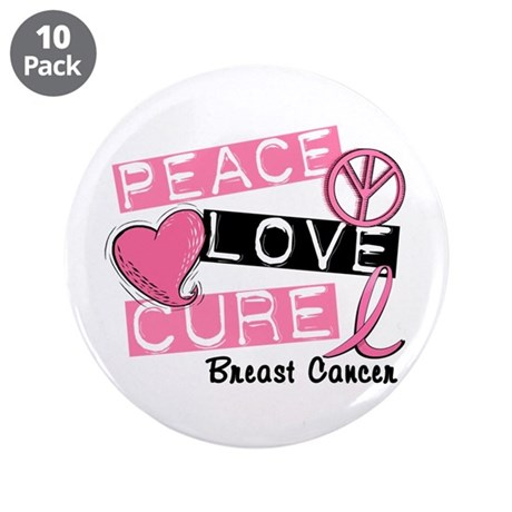 "PEACE LOVE CURE Breast Cancer (L1) 3.5"" Button (10"