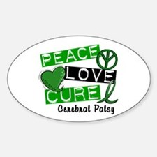 PEACE LOVE CURE Cerebral Palsy (L1) Oval Decal