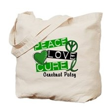 PEACE LOVE CURE Cerebral Palsy (L1) Tote Bag