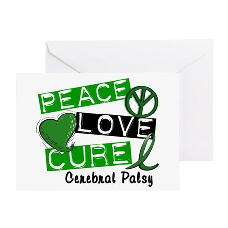 PEACE LOVE CURE Cerebral Palsy (L1) Greeting Card