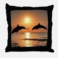 Two Dolphins Throw Pillow