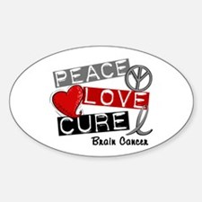 PEACE LOVE CURE Brain Cancer (L1) Oval Decal