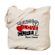 PEACE LOVE CURE Brain Cancer (L1) Tote Bag