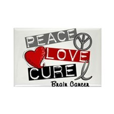 PEACE LOVE CURE Brain Cancer (L1) Rectangle Magnet