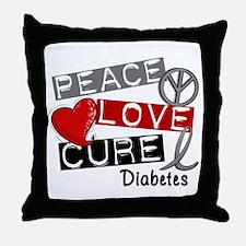 Peace Love Cure Diabetes Throw Pillow