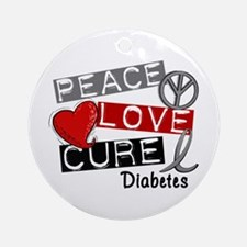 Peace Love Cure Diabetes Ornament (Round)