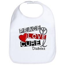 Peace Love Cure Diabetes Bib