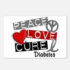 Peace Love Cure Diabetes Postcards (Package of 8)