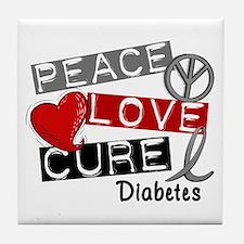 Peace Love Cure Diabetes Tile Coaster